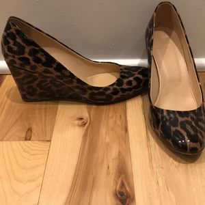 J.Crew Patent leather wedge heels, cheetah print